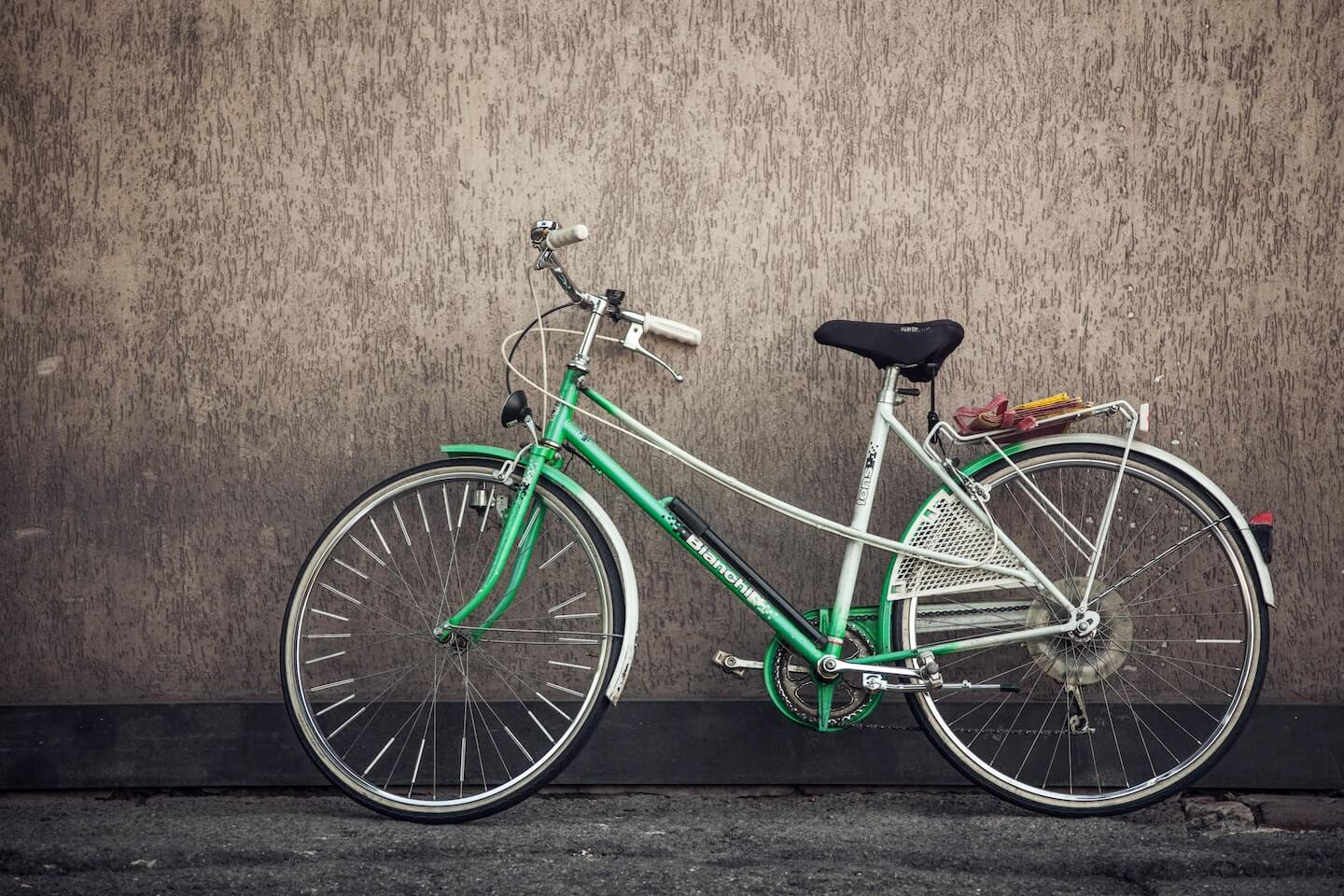 A classic green bicycle