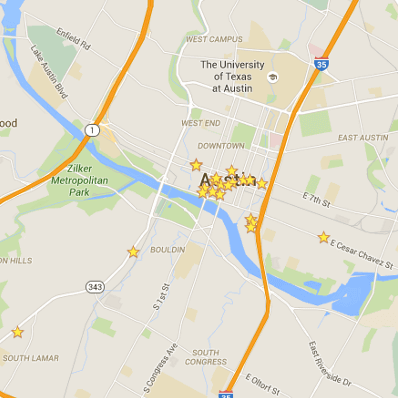 A map of Austin with stars on it