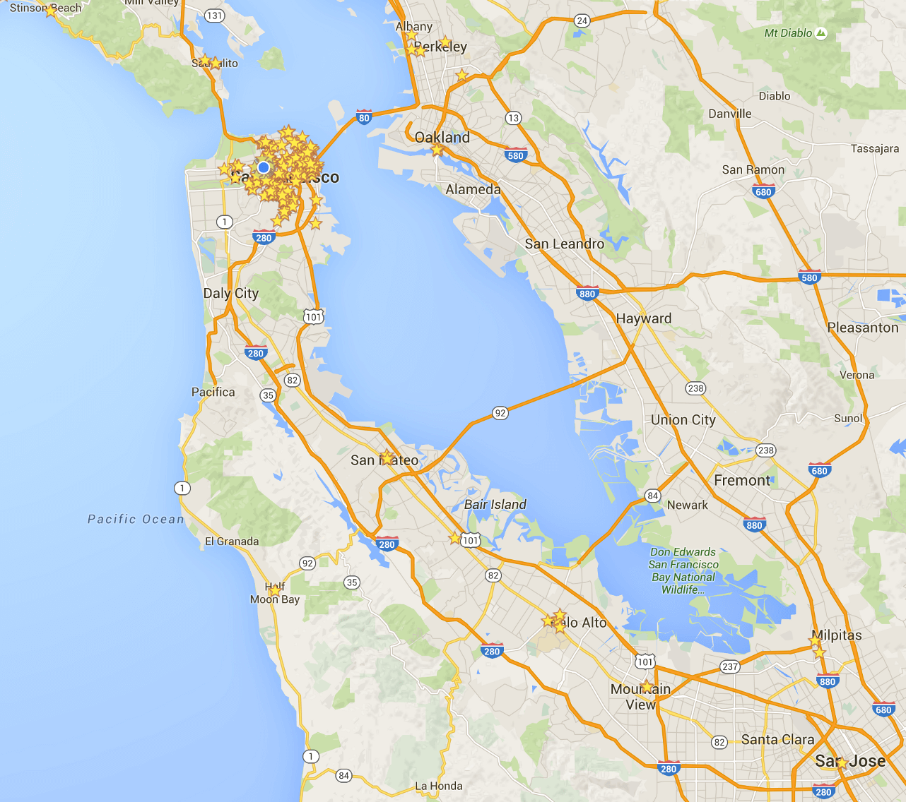A map of the Bay Area with stars on it