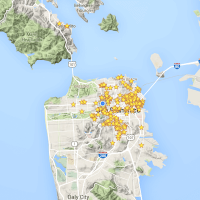 A map of San Francisco with stars on it