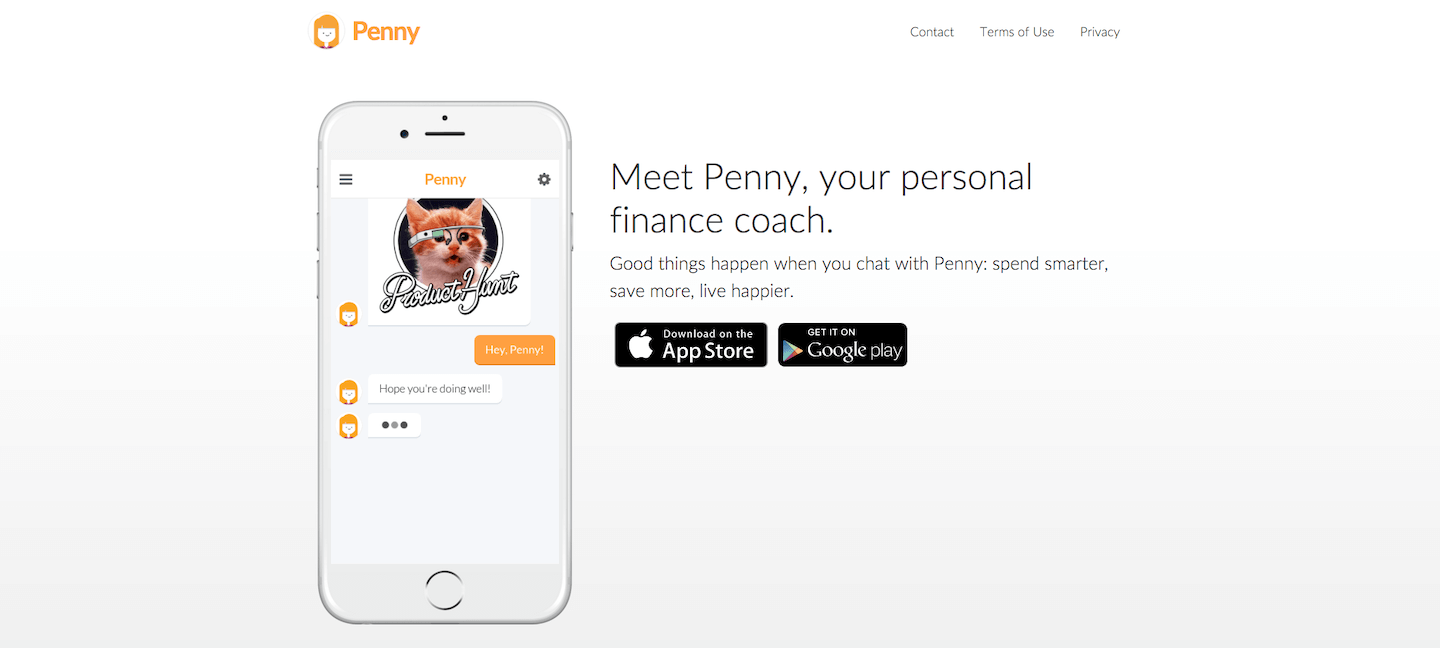 Penny's Product Hunt landing page